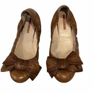 Prada Bow Brown Leather Ballerina Flats